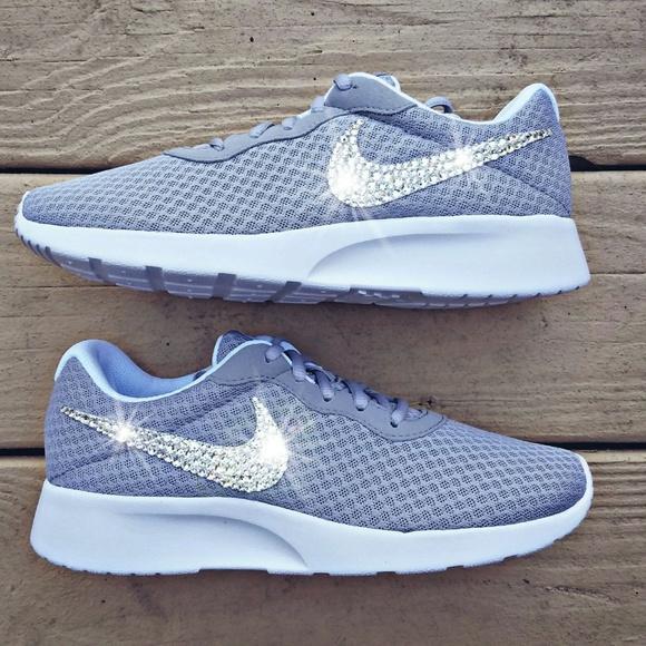 Swarovski Crystal Bling Nike Tanjun Grey NWT